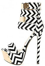 Eyecatcher Black White Chevron Open toe Platform Stiletto Heels