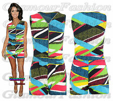 Celeb Lucy Meck Neon Stripe All In One Jumpsuit Ladies Shorts Playsuit Dress Top