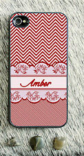Monogrammed iPhone 5 case chevron lace pink personalized cover iPhone 4 MG-054