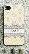 Monogrammed iPhone 5 case floral lace yellow personalized cover iPhone 4 MG-057