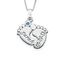 Engraved Baby Feet Necklace with Birthstone - CUSTOMIZE WITH ANY NAME!