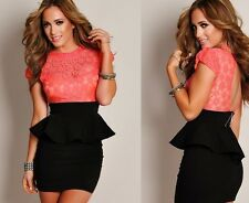 Sexy Women's Plus Size Black Lace Sleeve Peplum Mini Lace Party Clubbing Dress