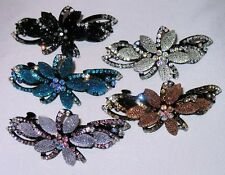 SPARKLING CRYSTAL FLOWER BARRETTE SELECT COLOR SHIPs FAST from USA