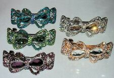 PRETTY CRYSTAL BOW BARRETTE SELECT COLOR SHIPS FAST FROM USA