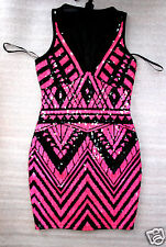 NWT bebe black pink sequin v neck mesh cutout back party top dress XS S M L XL