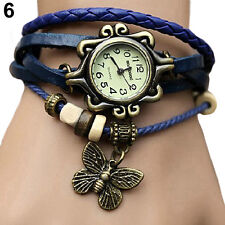 Womens Vogue Vintage Leather Bracelet Butterfly Decoration Quartz Wrist Watch