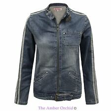 NEW WOMENS LADIES  BIKER STYLE JEAN VINTAGE DENIM STRETCH ZIPPED COAT JACKET TOP