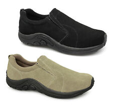 Mens Womens Ladies Soft Suede Leather Slip On Twin Gusset Jungle Casual Trainers