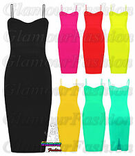 Ladies Celeb Bright Neon Womens Bodycon Strappy Bralet Summer Midi Party Dress