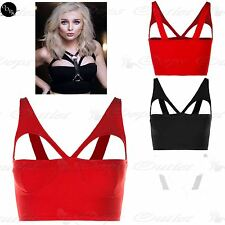 Womens Ladies Cut Out Bra Cup Celeb Crepe Vest Bralet Bandeau Boobtube Crop Top