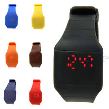 Fashion Unisex Touch Digital Red Led Silicone Sports Ultra-thin Wrist Watch