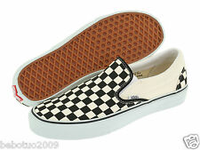 NEW MEN WOMEN VANS CLASSIC SLIP ON BLACK AND WHITE CHECKER/WHITE VN-0EYEBWW ORG