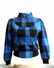 HELL BUNNY CHECK JACKET BLUE/BLACK  (B17C)