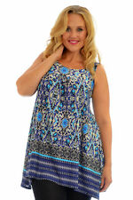 Womens Top Ladies Blouse Paisely Print Floral Long Sleeveless Nouvelle Plus Size