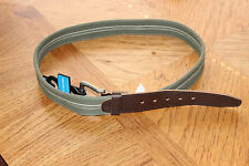 MENS GENUINE COLUMBIA BROWN LEATHER & GREEN WOVEN FABRIC BELT 11co0351