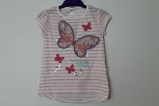 NEW Girls Pink Striped Butterfly Top Age 2 Years *FREE P&P*
