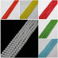 6x8mm Faceted Red,Pink,Green,Blue, White,Yellow Glass Oval Loose Beads 70pcs