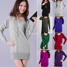 New Womens Long Sleeve Crew Neck Knitted Bodycon Sweater Mini Dress Jumper