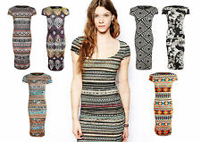 New Womens Ladies Aztec Floral Print Summer Bodycon Midi Printed Dress Size 8-14