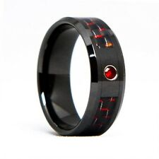 Mens Tungsten Carbide Ring Ruby Black Ceramic Red Carbon Fiber 8mm (7.0-12.0)