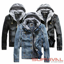 NEW MENS BLUE DENIM JACKET WITH DETACHABLE HOOD DESIGNER OUTER WEAR SIZE S-M-L