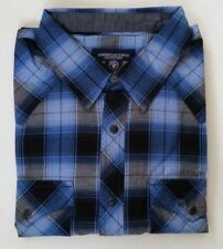 NWT AMERICAN EAGLE MENS  L  BLUE BLACK PLAID WESTERN SHIRT PEARL SNAPS COWBOY