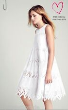 **HOBBS**ALLOVER BRODERIE ANGLAISE EVIE WHITE COTTON TRAPEZE DRESS £179.00