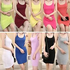 Women Lady Basic Stretch Spaghetti Strap Plain Long Tank Top Cami Mini Dress