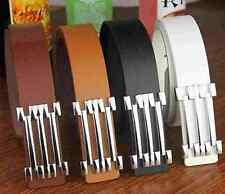 1Pcs Faux Leather Men Alloy Adjustable Buckle Waist Strap Black White Brown Belt