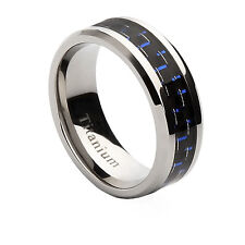 Titanium Ring with Black and Blue Carbon Fiber Inlay Wedding Band, Size 7-13