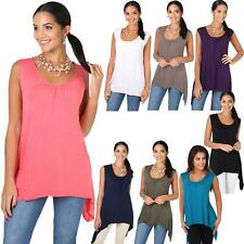 Women Long Top Sleeveless Pleated Tee Shirt Tunic Jersey Stretch Loose Fit