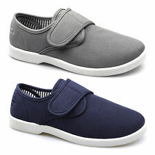 Dr Keller SHIP Mens Soft Canvas Wide Fit Velcro Padded Comfy Casual Deck Shoes