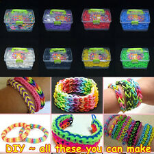 Colourful Rubber Bands+Clips+Hook+Charms+Box Set For Rainbow Loom Refill Kit DIY