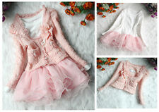 Autumn Kids Baby Girls Suit Cardigan Coat + TuTu Dress Skirt Girls Set Outfit