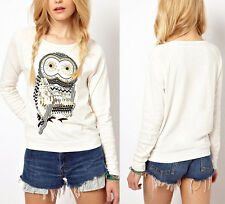 New Womens Long Sleeve Owl Printed T Shirt Tee Blouse Tops Beading Pullover