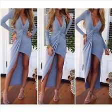 Sexy low v neck maxi prom slit party dress celeb summer outfit beachwear coverup