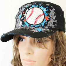 ADJUSTABLE BLACK OR WHITE BASEBALL SPORTS STAR WESTERN COWGIRL CAP HAT KBV-RD