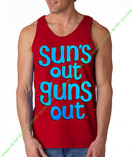 Blue SUNS OUT GUNS OUT Red Tank Top rave muscle gym workout bodybuilding movies