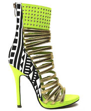 Strap-Moment Black Yellow Pink Sandal Ankle Boot Strappy Gladiator Heel