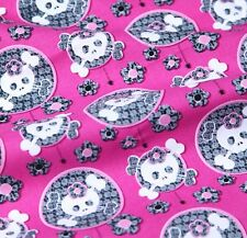 Free Shipping by the yard PINK Skull printed 100% Cotton Plain Fabric 43.3""