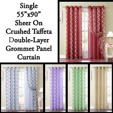 Single Sheer and Crushed Taffeta Double-Layer Window Panel Curtain w/ Grommets