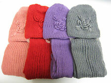 Ladies Knitted Hat & Scarf Set with Flower Detail 4 Colours Style 90755