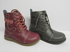 Girls Cutie Qt Lace Up Military Boots with Butterfly Trim & Side Zip Style H4062