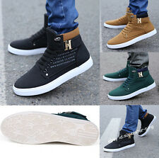 New Stylish Korean Men Comfortable High-top Short Boots Casual Board Shoes EQ301