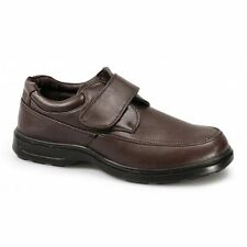 Dr Keller PERCY Mens Velcro Bar Comfy Padded Soft Wide Fit Casual Shoes Brown