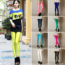Neon Candy Color Shiny Fluorescent Glow Stretch Tight Leggings Pants S,M,L,XL SK
