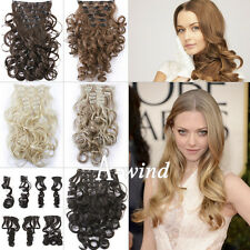 "20""-22"" Women Wavy Curly hair 7 Pieces Clip in full head hair extension 5 colors"