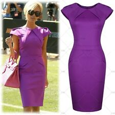 New Womens Ladies Bodycon Dresses New Cele Style Purple Offices Business Dress