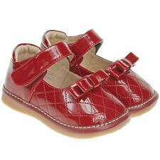 Girls Childrens Kids Toddler Leather Squeaky Shoes - Patent Red Quilted Effect