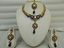 Designer Indian Bollywood Diamantes & Beads Bridal Necklace Earrings Set